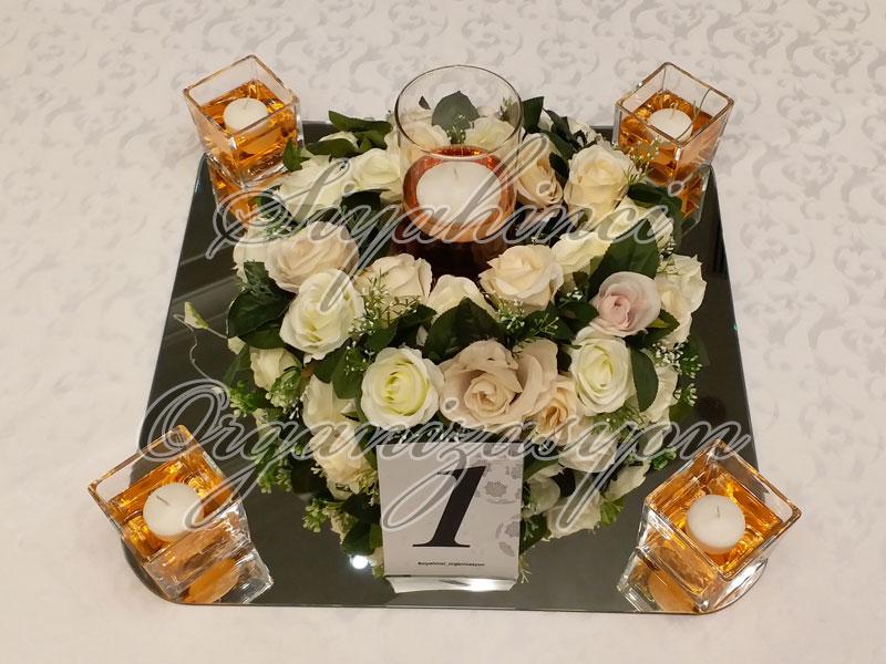 Masa Parteri - Yapay Çiçek Gül