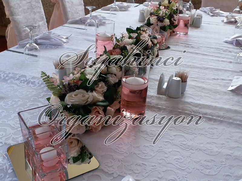 Masa Parteri - Yapay Çiçek - Dikdörtgen Masalar için